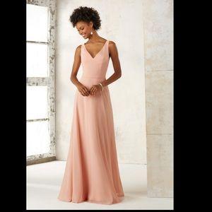 Morilee  Sleeveless Chiffon Bridesmaids Dress NAVY